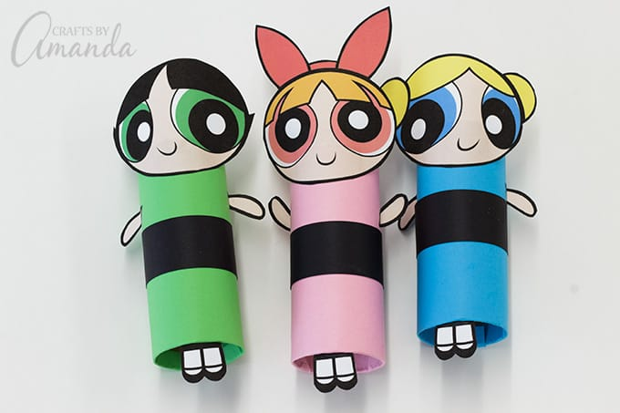 You just made super cute Powerpuff Girls from cardboard tubes!