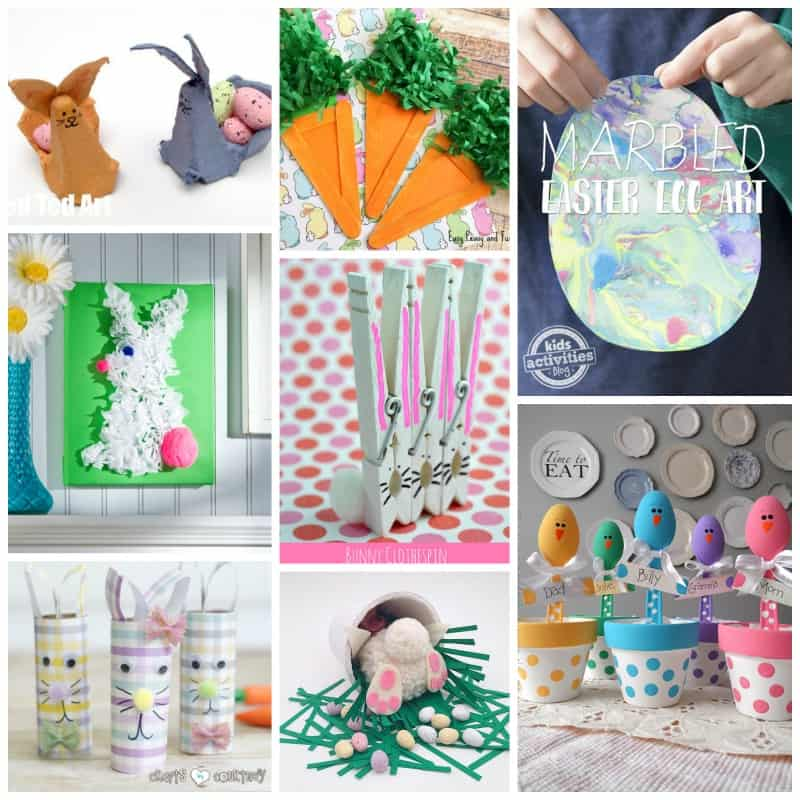 Beautiful marbled Easter egg creations, sweet little pom pom bunnies, adorable chick place holders and cute bunny butts!