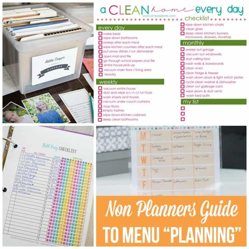 It's so easy to fall behind and forget things that need to be done. Organize your meals, days of the week and your cleaning schedule to stay on top of everyday tasks!