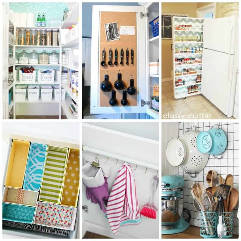 Lots of beautiful kitchen organization ideas and tips to help you keep your kitchen tidy and efficient!