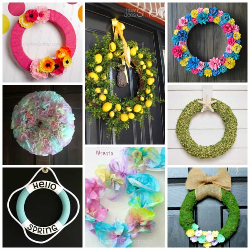 Easter eggs, flowers, succulent, nautical inspired. There are tons of beautiful spring wreaths to get you inspired!