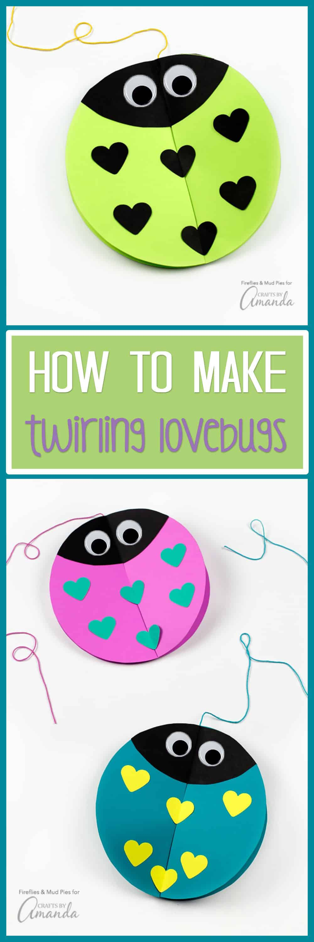 Crafters of all ages will enjoy making Twirling Lovebugs for Valentine's Day. They are a fun, decoration that will bring joy and smiles to all who see them!