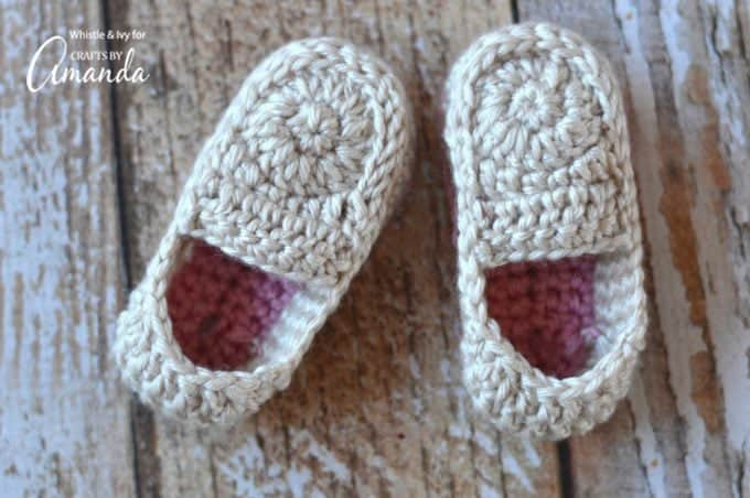 Mix and match the colors you'd like for these crochet baby loafers!