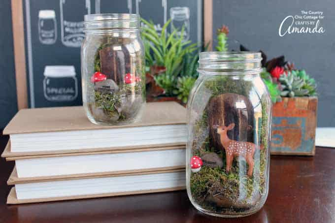 A fairy garden mason jar terrarium will be the perfect addition to your home decor this spring. Add them to your mantel or even your front porch. Choose the miniatures with your kids then let them help with the creation of these magical jars.