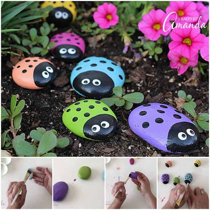 Adorable ladybug painted rocks