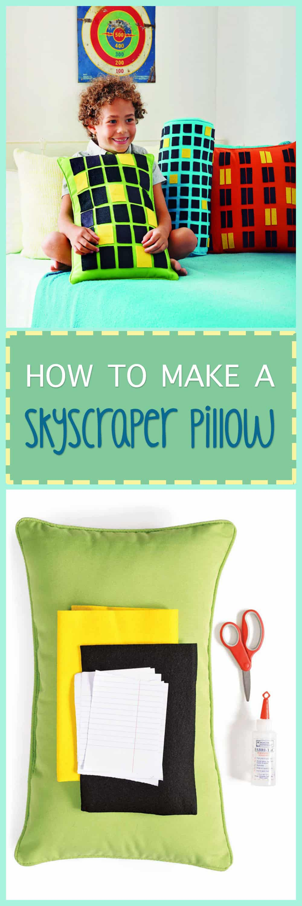Kids will love these skyscraper pillows! They're super easy to make and look good just about anywhere. Have a love for the city? Give these a try!