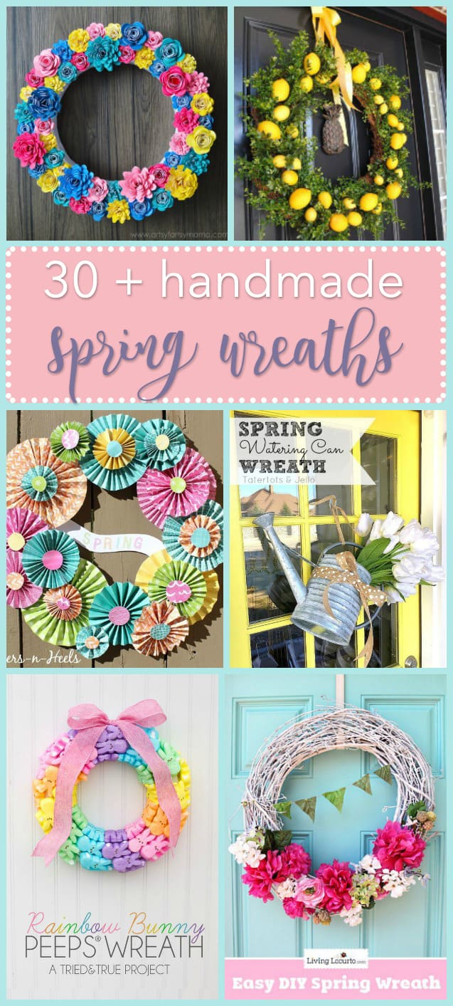 These spring wreaths are perfectly pretty staples to hang upon your front door. A list of inspiration for bringing color & life back after a cold winter!