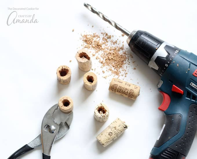 Drill the holes through your wine corks to make DIY wine cork succulent magnets.