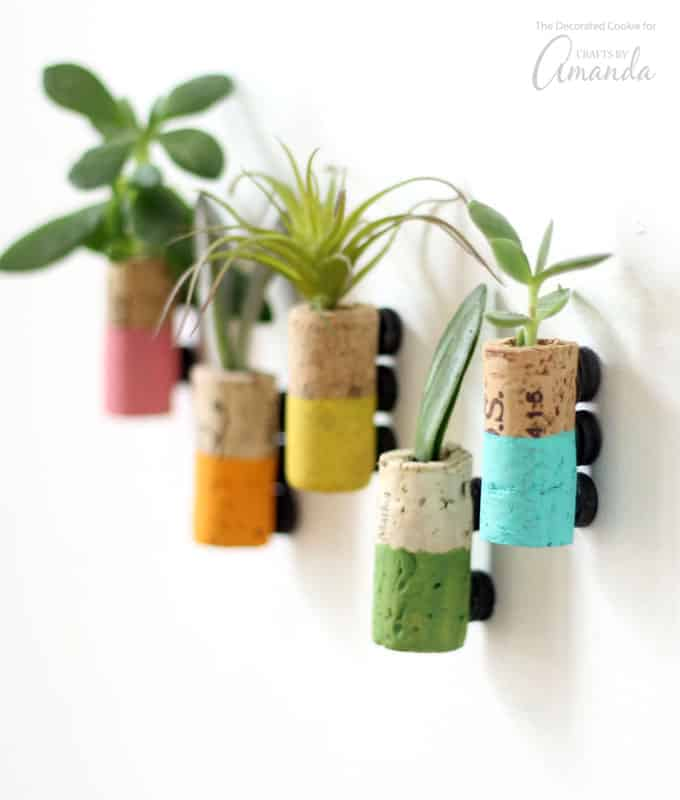These cute and colorful wine cork succulent magnets make your refrigerator extra charming