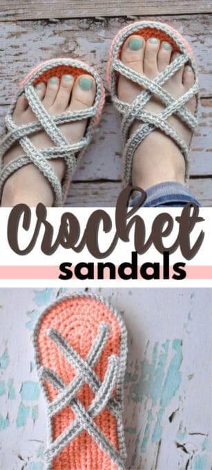 crochet sandals pin image