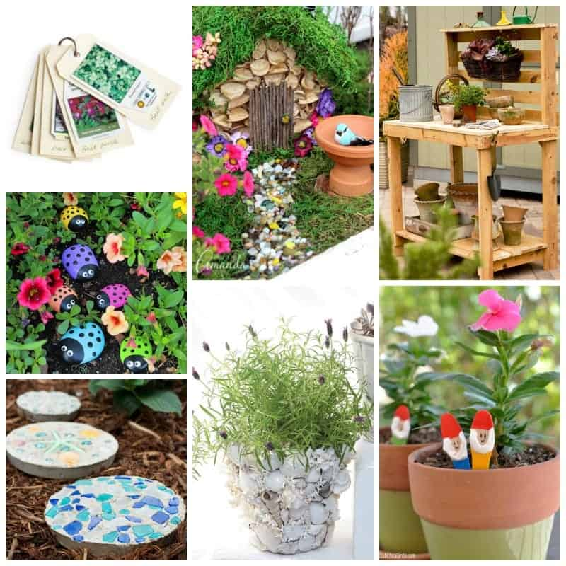 Lots of pretty DIY garden crafts to get you inspired!