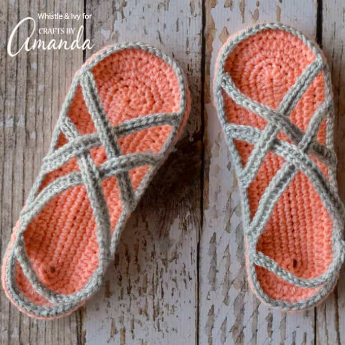 b36177bbd Crochet Sandals: an adorable adult craft making crochet slippers!