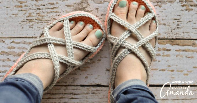 5e0a577781d4a Crochet Sandals: an adorable adult craft making crochet slippers!