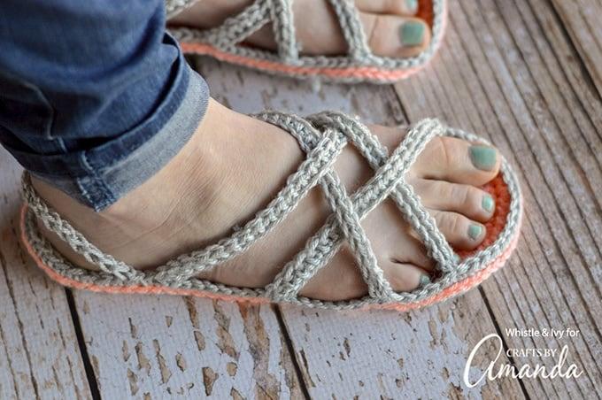 Crochet slippers on feet