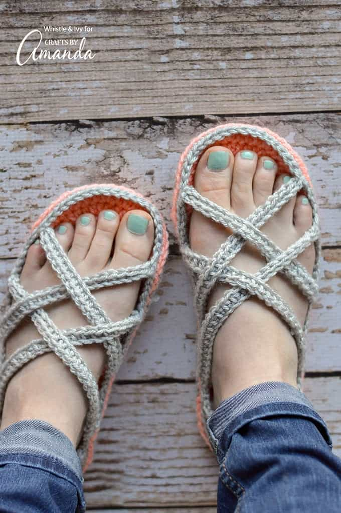 dd84c78a91ab Crochet Sandals  an adorable adult craft making crochet slippers!