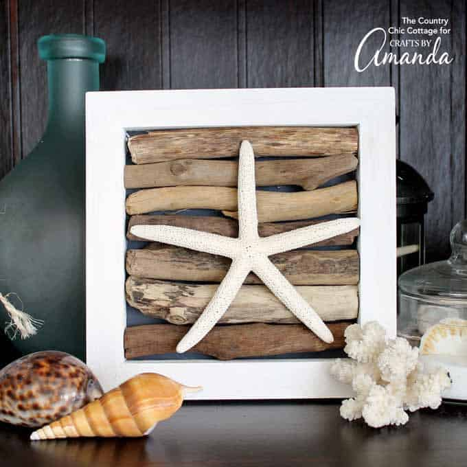 driftwood art in shadowbox