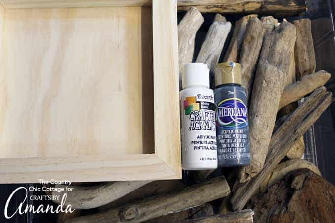 shadowbox and paint bottles