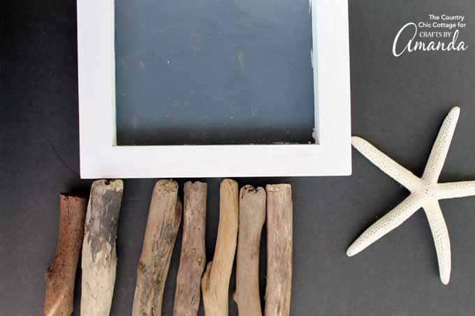 supplies for driftwood art with starfish
