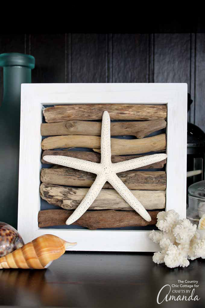 starfish in shadowbox with driftwood backing