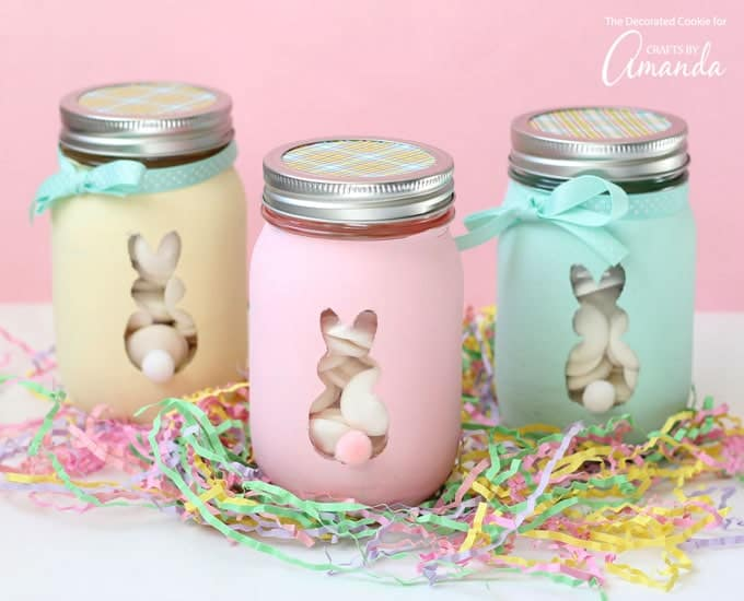 Pretty Easter Bunny Mason Jars on pastel easter grass