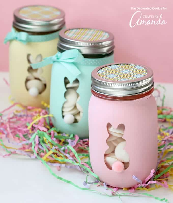 These Easter bunny mason jars are such a cute and easy holiday craft to make