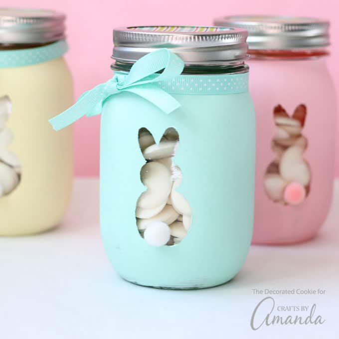 You can find all the supplies you need for these bunny mason jars at the craft store. I used chalk paint here because it works so well on non-porous surfaces, often with just one coat.