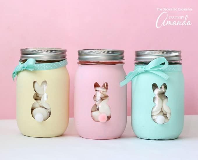 Adorable Easter Bunny Mason Jars in pastel colors