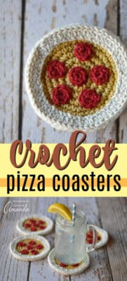 crochet pizza coasters pin image