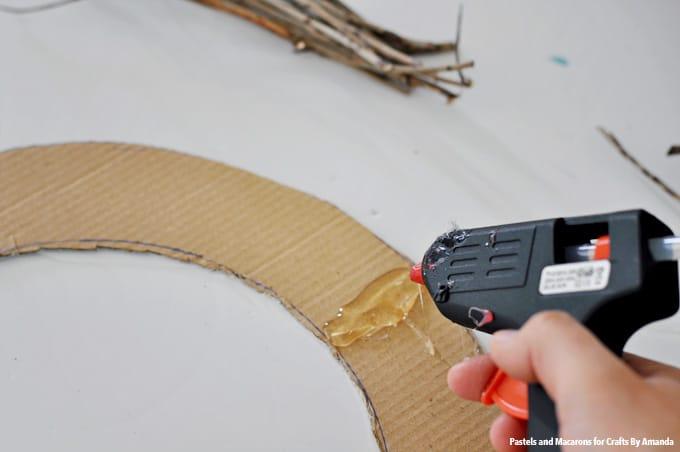 Adding hot glue