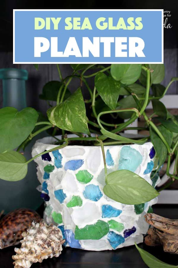 Make this sea glass planter from all the pretty sea glass you find on your beach vacation this year! A pretty memento of the beach and great memories.