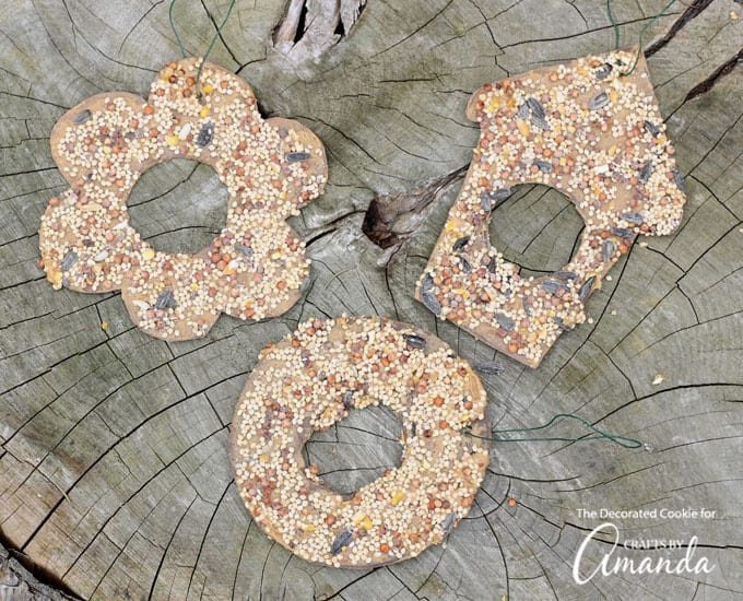 Easy to make birdseed ornaments to hang outside for the birds!