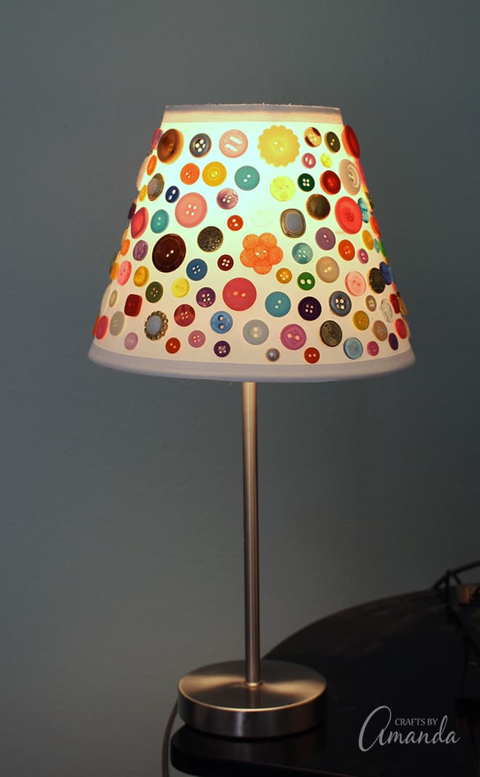 Adorable multi-colored button lamp shade