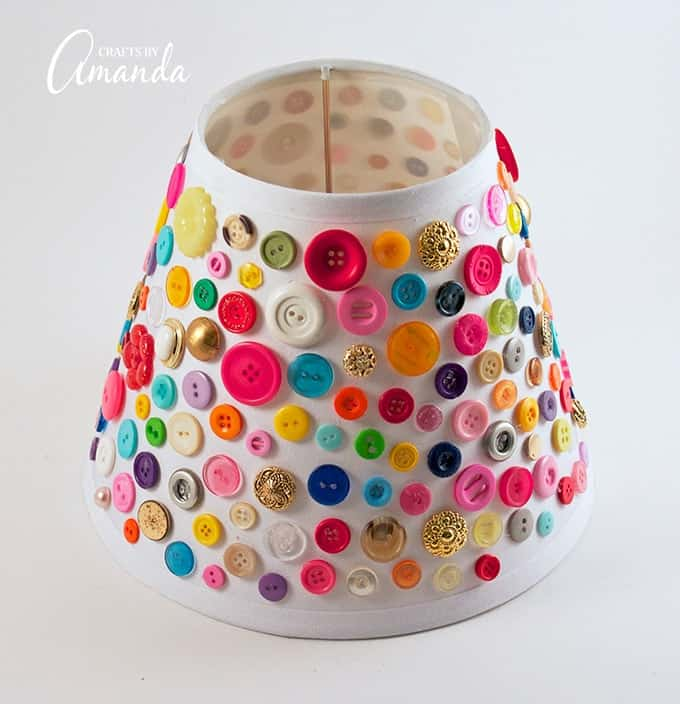 Button lamp shade a great home decor adult craft bursting for Button crafts for adults