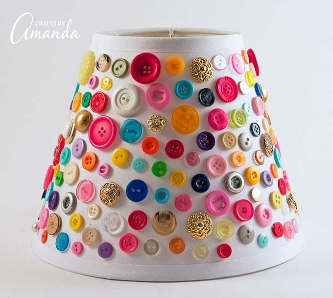 Adding colorful buttons to a lampshade