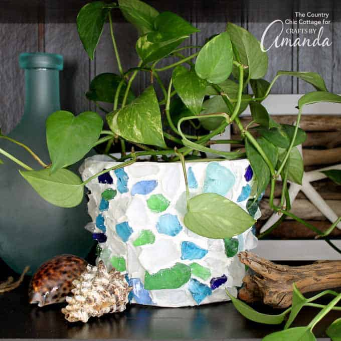 sea glass planter pot with a plant