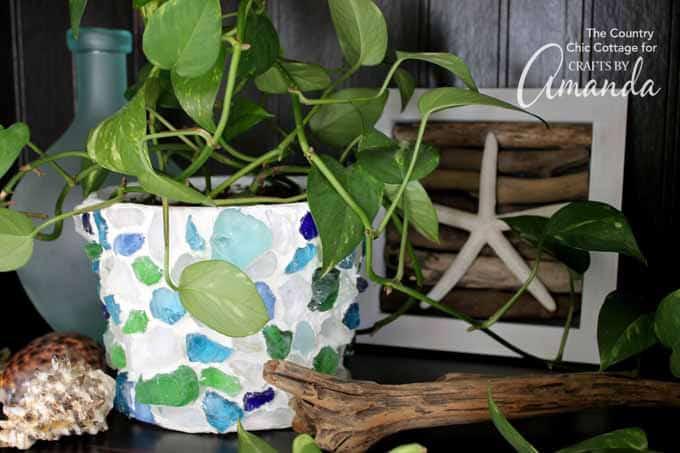 Make this sea glass planter as a pretty memento of your beach vacation!