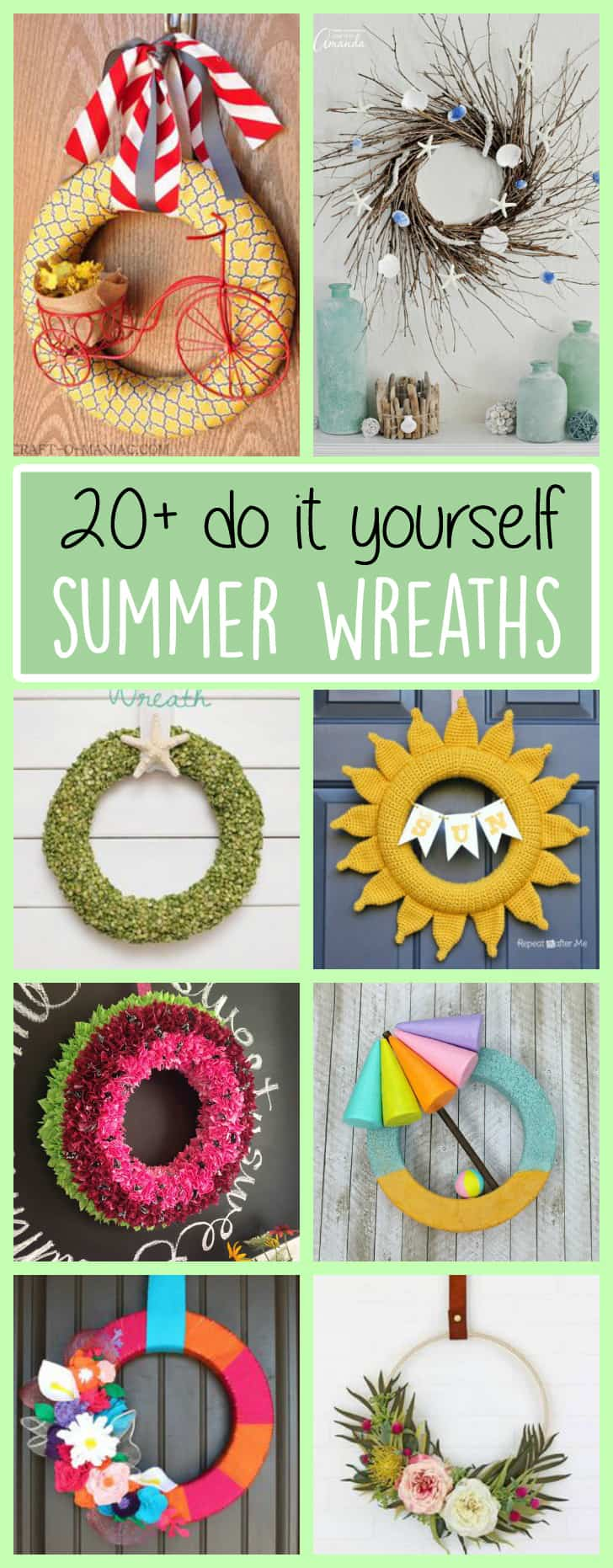 Diy summer wreaths 20 beautiful statement wreaths for Summer craft ideas for adults