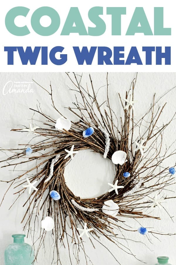 Coastal Twig Wreath with seashells