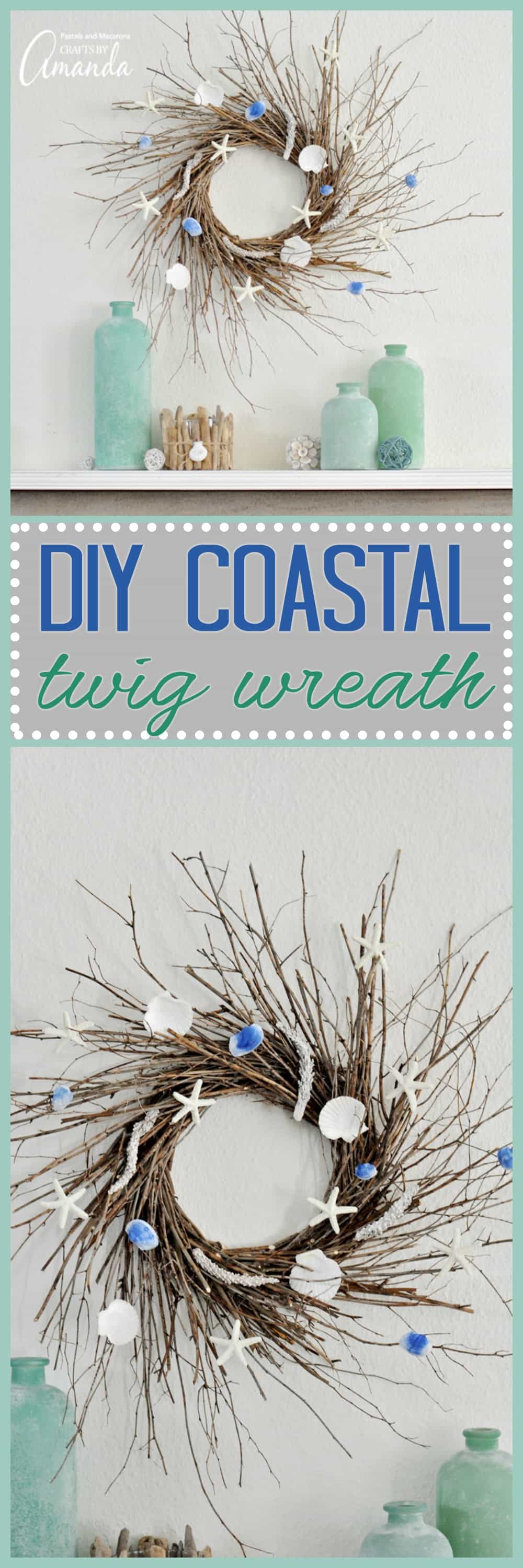 twig wreath with seashell and sea glass