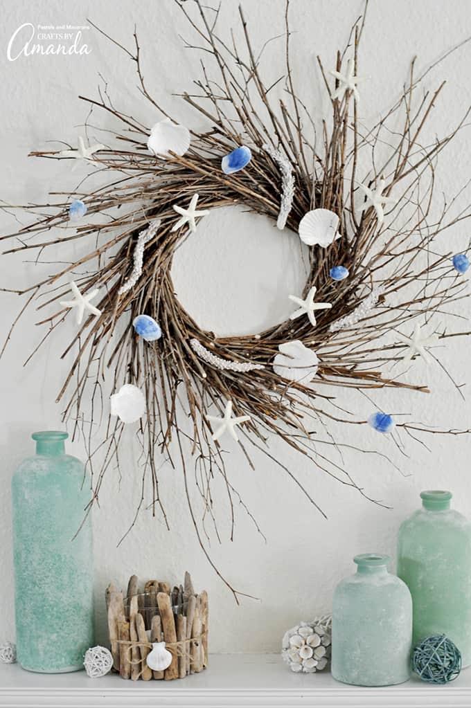 Create this inexpensive coastal wreath using minimal craft supplies