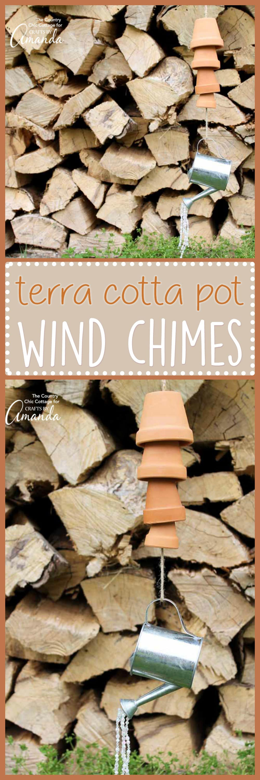 These Terra Cotta Pot Wind Chimes are an easy adult craft idea. Add various sizes of pots, wood beads, and twine to make music in your garden in minutes!