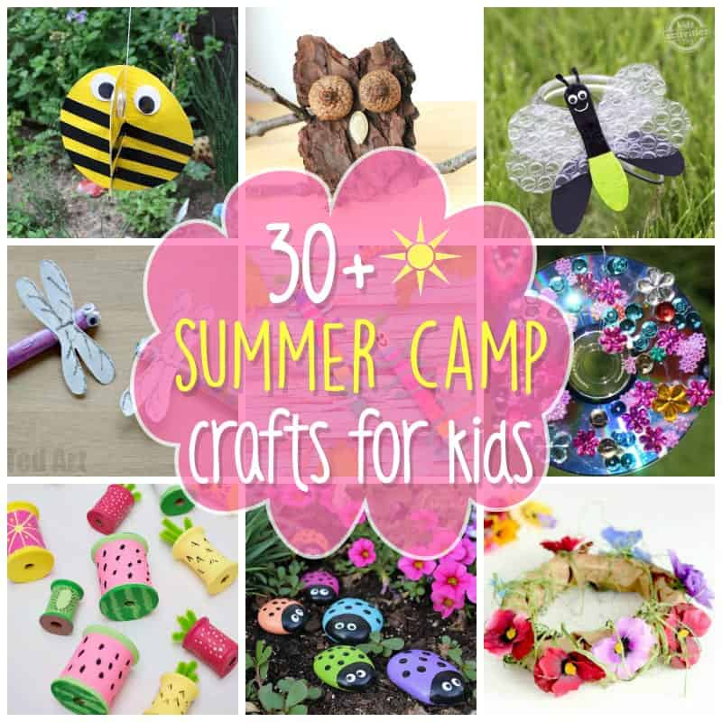 collage of summer camp crafts