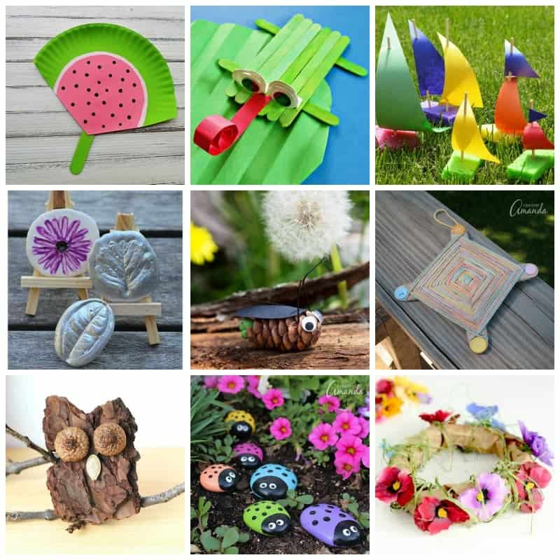 Summer Camp Crafts for Kids Collage