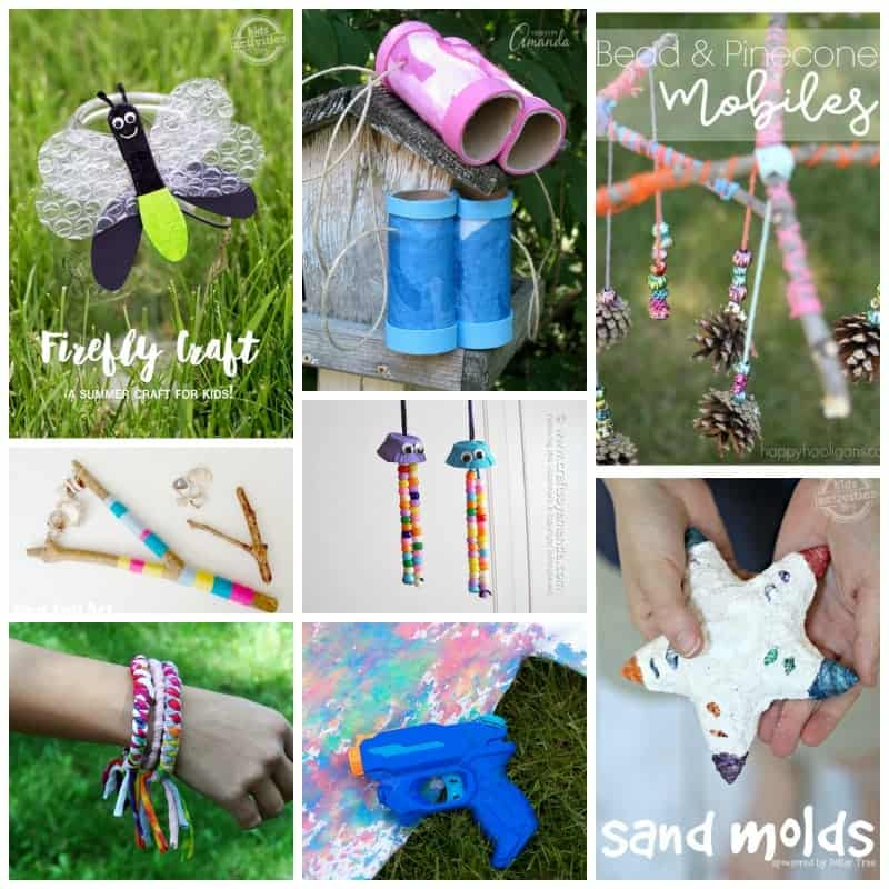 collage of different crafts to do at summer camp