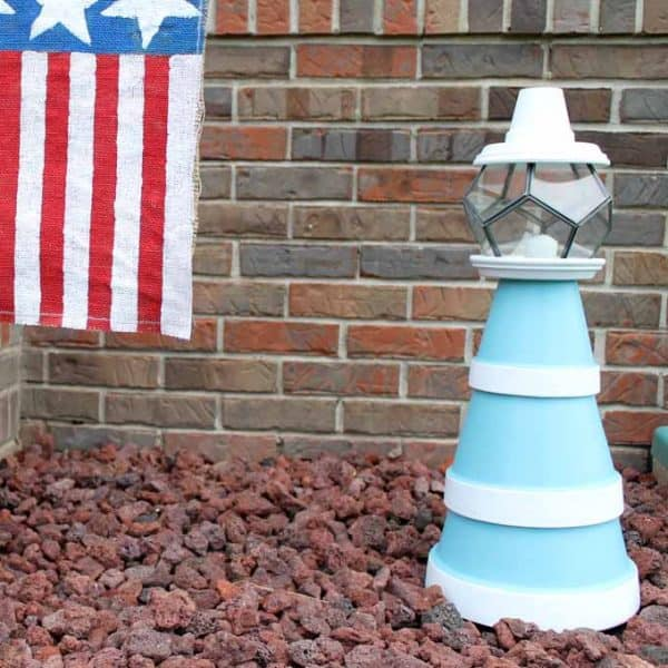 Clay pot lighthouse - make this for your summer garden!