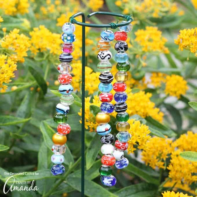 Colorful beaded garden stakes