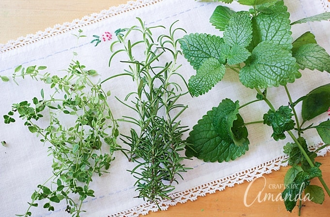 Fresh herbs from your garden work great in sachets as well, and if you like you can add a drop or two of essential oils.