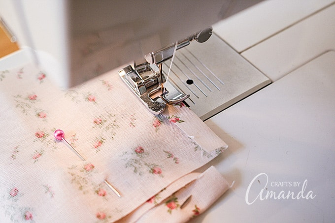 Sew a straight stitch across the folded fabric.