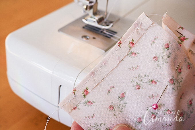 This will hide any frayed or jagged fabric edges inside the sachet.