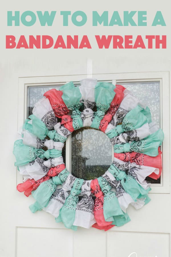 When I do sit down at the craft table I want my wreath project to be easy and fast. This bandana wreath is simple and only took about 20 minutes.